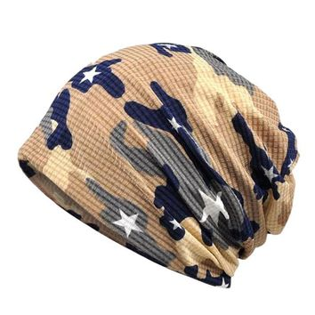 Sports Hat Cap trendy  Cotton Spring Summer Beanies for Women Men Hat Thin Hiphop Helmet Liner  Camouflage Army Fashion Slouchy Baggy Skullie KO_16_1