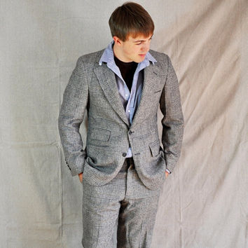 Men's Gray Suit Vintage Men's BlueGray Plaid by ArmorOfModernMen