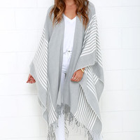Swiss Alps Ivory and Grey Striped Poncho