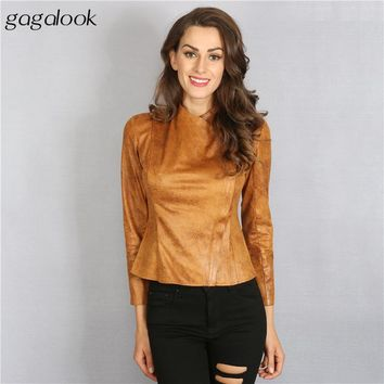 Faux Suede Bomber Jacket Women Basic Coats Fashion Faux Leather Jacket