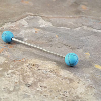 Blue Turquoise Industrial Barbell Piercing Upper Double Ear Piercing 14 Gauge