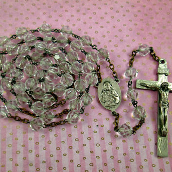 Vintage Rosary Sterling silver Beautiful Catholic Crucifix Cross Connector Multi-Faceted Cut Glass Beads 32 Inches 2 1/4 Inch Cross Lovely!