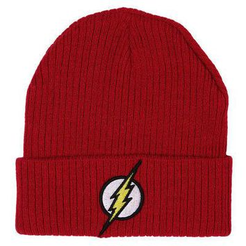 The Flash Bolt Logo Patch DC Comics Licensed Adult Cuff Beanie Hat - Red