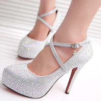 NEW 2015 Women High Heels Prom Wedding Shoes Lady Crystal Platforms Silver Glitter Rhinestone Bridal Shoes Thin Heel Party Pump