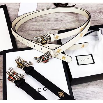GUCCI New Fashion Pearl Bee Buckle Belt Embroidery Bee Star Leather High Quality Women Men Belt
