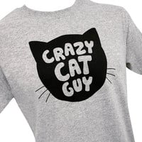 Crazy Cat Guy Mens T-Shirt - Sizes S, M, L, XL