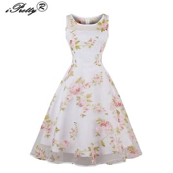iPretty Retro Mesh Floral Print 1950s 60s Rockabilly Robe Casual Sleeveless Swing Autumn Vintage Vestidos Party Feminina Dress