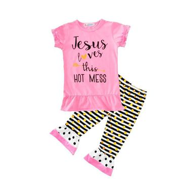 Jesus Loves This Hot Mess Kid Girl Set Outfit Shirt & Pants - Baby Children