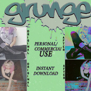 """Photoshop PSD Coloring File Instant Download Photo Effects Actions """"GRUNGE"""" Dark Goth Glitch Black Light Neon"""