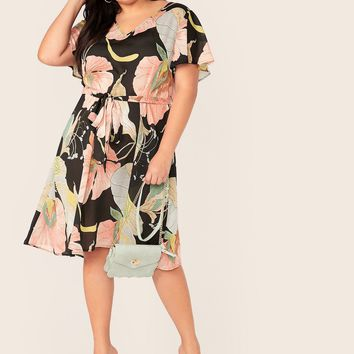 Plus Plant Print Flutter Sleeve Belted Midi Dress