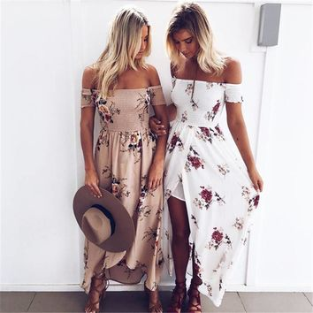 Boho Style long dress Women Off Shoulder Beach Summer dresses New Floral Print Elegant Chiffon White Maxi dress Vestidos