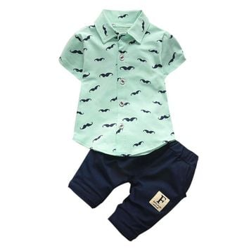 6-24M Mustache Print Button Up Shirt+Pants