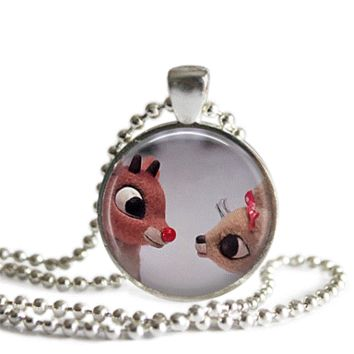 Rudolph and Clarice Silver Plated Picture Pendant Necklace