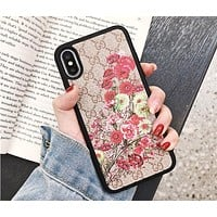 GUCCI Tide brand flower embroidery anti-fall all-inclusive iPhone xr phone case red