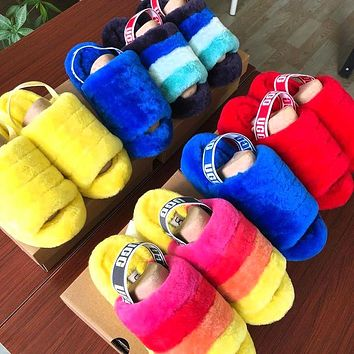 UGG Hight Quality Women Fashion Multicolor Fur Flats Sandals Slippers Shoes