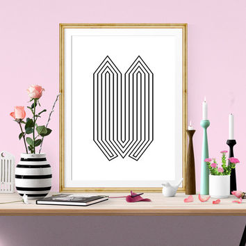 Black and white printable poster, Minimalist poster, Op art print, Abstract art print, Modern poster, Wall print, Wall art, Lines art