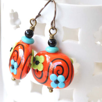 Flower Earrings, Orange Earrings, Lampwork Earrings, Glass Bead Earrings