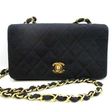 Auth CHANEL Mini Matelasse Black Canvas Shoulder Bag Gold Hardware