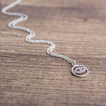 CZ Evil Eye Sterling Silver Charm Necklace