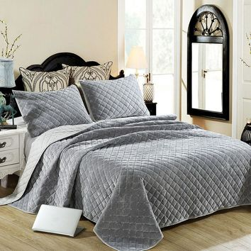 Cool CHAUSUB Winter Cotton Bedspread Quilt Set 3PCS Embroidered Plush Quilts Quilted Bed Cover Pillowcase King Queen Size CoverletAT_93_12