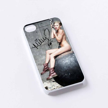Wrecking ball Miley cyrus and signature iPhone 4/4S, 5/5S, 5C,6,6plus,and Samsung s3,s4,s5,s6