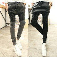 Color Block Leather Panel Drawstring Sweatpants
