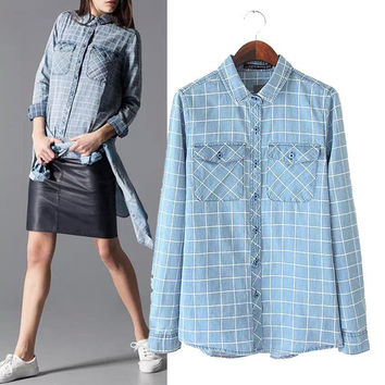 Stylish Long Sleeve Print With Pocket Denim Women's Fashion Tops Shirt [5013188036]