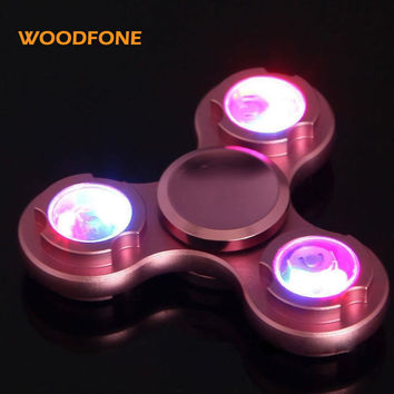 WOODFONE Hand Spinner Aluminum Alloy Gyro Metal LED Light Finger Stress Gift Toys Spinner Fidget Alloy EDC Relief Focus Anxiety