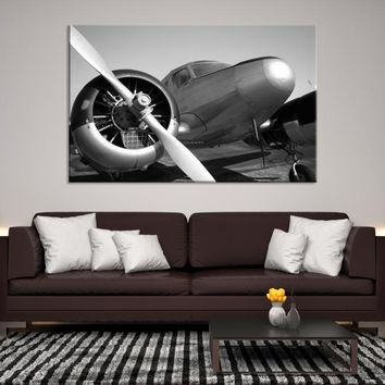 63010 - Black and White Single Engine Airplane Canvas Print, Extra Large Wall Art, Large  Propeller Canvas Print, Airplane Propeller, Airplane Canvas, Ready to Hang, Framed Wall Art