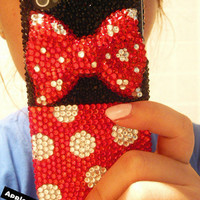 Free Shipping Cute Mickey Mouse Round Dot iphone Sticker and flatback cabochon bow diy phone case deco den kit  (Phone Case not Included)