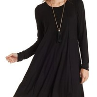 Black Seamed Cut-out Swing Dress by Charlotte Russe