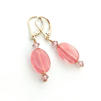 Cherry Quartz Earring, Pink Quartz, Cherry Quartz Jewelry, Peach Earring, Light Pink Earring, Mothers Day Gift, Rose Quartz Earring