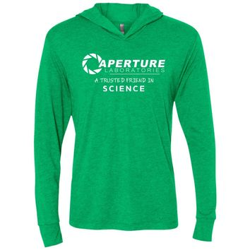 aperture laboratories a trusted friend in science NL6021 Next Level Unisex Triblend LS Hooded T-Shirt