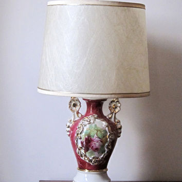 SALE Vintage Cottage Chic Hand Painted Ceramic Urn Lamp with Flowers / Hollywood Regency Lamp