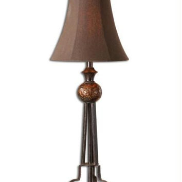 Buffet Table Lamp - Frame Body Is Heavily Distressed Chestnut Tone With A Variegated Gray Glaze And Bronze Accent Near Shade