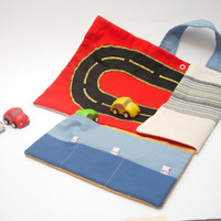 RESERVED for EMILY Car roll holder and little play mat for kids, travel toy, on the go. Ready to ship