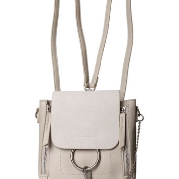 Beige Vegan Leather Mini Backpack