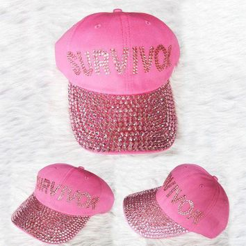 MDIGON 2016 New PINK Survuvor Letters Diamond Point denim snapback caps women baseball cap girls Hat rhinestone hat For Men Teens