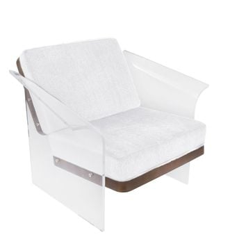 Float Clear Chair Walnut Wood - White Faux Fur Fabric