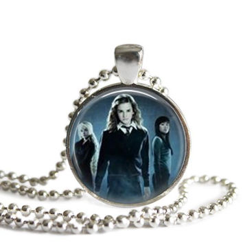 Hermione Granger, Luna Lovegood and Cho Chang Silver Plated Picture Pendant Harry Potter Necklace