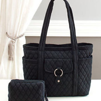 Women's Black 2-Pc Quilted Tote Set Purse Cosmetic Bag Travel Shoulder Bag