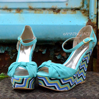 Summer Fever Chevron Wedge Sandals Mint