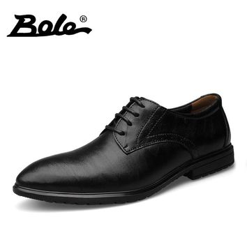BOLE Handmade Moccasins Shoes Men Classic Business Casual Genuine Leather Shoes Men Lace Up Height Increasing 3 CM Dress Shoes