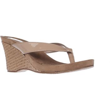 SC35 Chick Wedge Flip Flops, Nude, 5.5 US