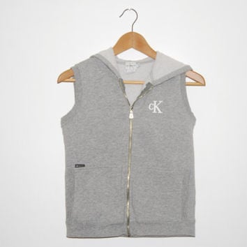 Vintage 90s Calvin Klein CK Gray Sleeveless Zip-up Hoodie Vest