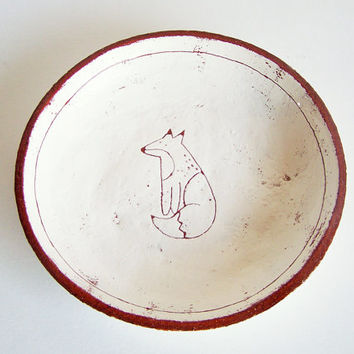 Fox Plate - Made to Order - Side Plate - Terracotta Plate - Ceramic Plate