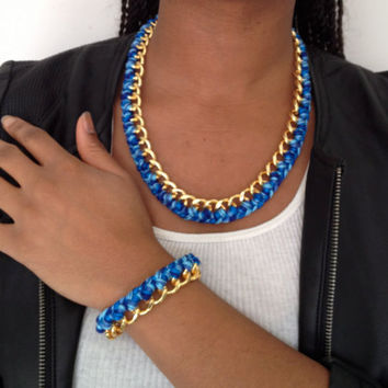 Chunky Woven Chain Bracelet/Necklace Set - Multiple Colors Available