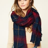 Frayed Plaid Oblong Scarf