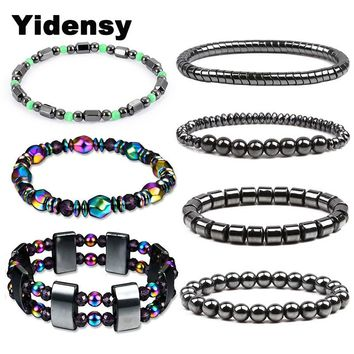 Yindesy  Fashion Hematite Beads Bracelet Elastic Stretch Strand Bracelet for Women Men Lose Weight Healthy Care Therapy Jewelry
