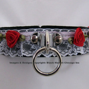 Sissy Maid Bondage Collar Leather Lace RED Roses Lockable